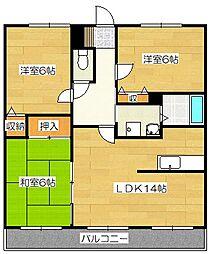 福岡県太宰府市坂本3丁目の賃貸マンションの間取り