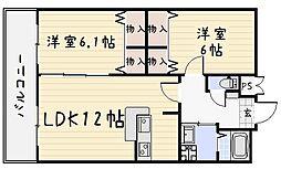 パークサイドハイツ[4階]の間取り