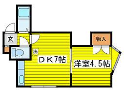 北海道札幌市東区北十五条東12丁目の賃貸マンションの間取り