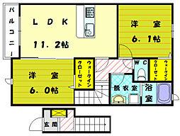 福岡県宗像市稲元4の賃貸アパートの間取り