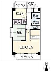 レジデンス中江[4階]の間取り