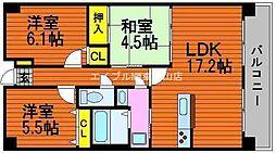 岡山県岡山市中区沢田丁目なしの賃貸マンションの間取り