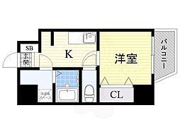 JR大阪環状線 寺田町駅 徒歩9分の賃貸マンション 7階1Kの間取り