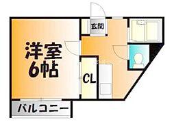岡山県岡山市北区清心町の賃貸アパートの間取り