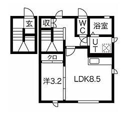 JR仙山線 北山駅 徒歩1分の賃貸アパート 2階1LDKの間取り