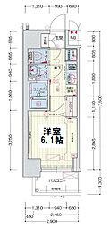 ララプレイス大阪新町ヴェレ 2階1Kの間取り