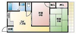 ヒロミツイースト 3階2DKの間取り