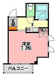 扇商事マンション 6階1Kの間取り
