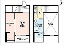 JR中央本線 新守山駅 徒歩5分の賃貸アパート 2階1SKの間取り