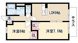 愛知県名古屋市天白区中砂町の賃貸アパートの間取り