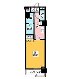 グラン・アベニュー鶴舞公園 3階1Kの間取り