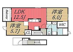 千葉県市原市ちはら台東7丁目の賃貸アパートの間取り