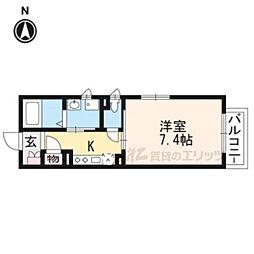 京阪本線 龍谷大前深草駅 徒歩9分の賃貸マンション 2階1Kの間取り