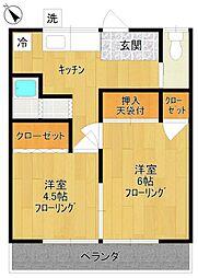 田園荘[2F-8号室]の間取り