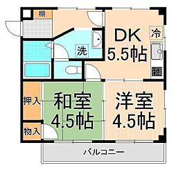 横山コーポ[102号室]の間取り