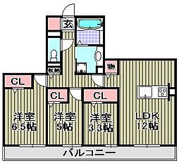 (仮称)D−room和泉市池上[3B号室]の間取り