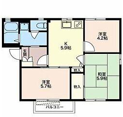 静岡県御殿場市川島田の賃貸アパートの間取り