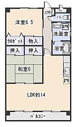 愛知県岡崎市上里3丁目の賃貸マンションの間取り