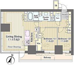 都営大江戸線 春日駅 徒歩1分の賃貸マンション 31階2LDKの間取り