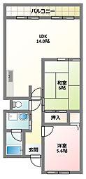 大阪府門真市北岸和田2丁目の賃貸マンションの間取り
