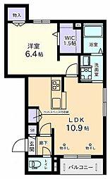 (仮称)元横山町Aマンション 2階1LDKの間取り