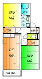 ウィング三宅 D[2階]の間取り