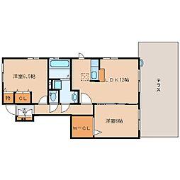 奈良県香芝市五位堂2丁目の賃貸アパートの間取り