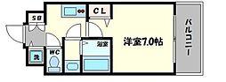 フォーリアライズ阿波座ウエスト 4階1Kの間取り