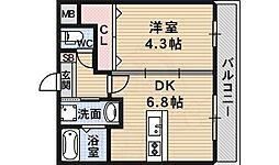 ステラウッド島泉2 1階1DKの間取り
