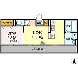 バス 新福下車 徒歩7分の賃貸アパート 2階1LDKの間取り