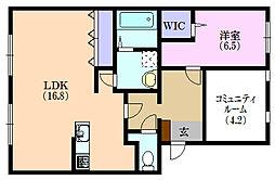 リアロット東若林[2階]の間取り