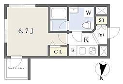 東京メトロ東西線 高田馬場駅 徒歩8分の賃貸マンション 1階1Kの間取り