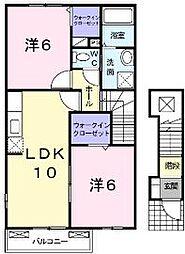 香川県高松市御厩町の賃貸アパートの間取り