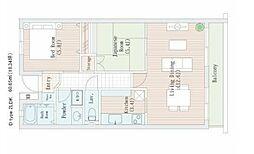 JR中央線 国立駅 徒歩18分の賃貸マンション 1階2LDKの間取り