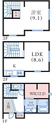 岸地通5丁目貸家 1階1SLDKの間取り