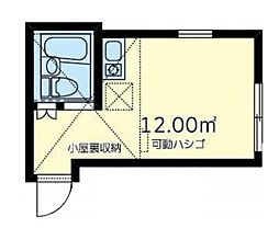 京急本線 戸部駅 徒歩10分の賃貸アパート 1階ワンルームの間取り