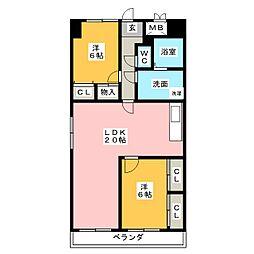 グレイスコート千代田[6階]の間取り
