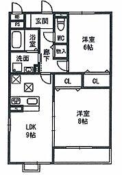 茨城県つくばみらい市陽光台1丁目の賃貸アパートの間取り