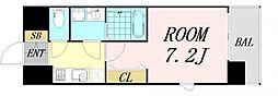 レジュールアッシュ淡路駅前 9階1Kの間取り