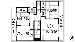 兵庫県川西市平野1丁目の賃貸マンションの間取り
