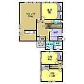 3LDKの間取りです。1階は20帖のLDK、8帖の洋室。2階は6帖の洋室、7.5帖の洋室の各部屋に収納を設置し、使いやすいお部屋にリフォームしました。