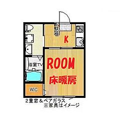 神奈川県横浜市鶴見区生麦1丁目の賃貸アパートの間取り
