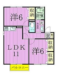 千葉県松戸市八ケ崎6丁目の賃貸アパートの間取り