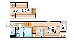 仙台市営南北線 長町一丁目駅 徒歩8分の賃貸アパート 2階1Kの間取り