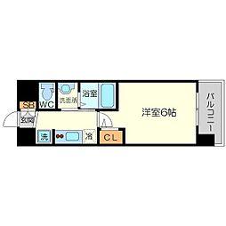 エステムコート新大阪13ニスタ 3階1Kの間取り