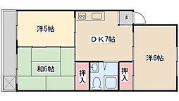 緑ヶ丘ローヤルコーポ[503号室]の間取り