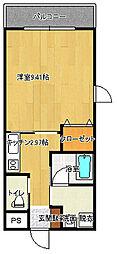 カノン桜坂[206号室]の間取り