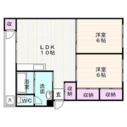 静岡県御殿場市東山の賃貸マンションの間取り