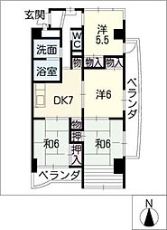 レジデンス岸野II[3階]の間取り
