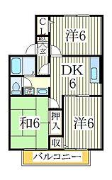 コーポ大野B[1階]の間取り